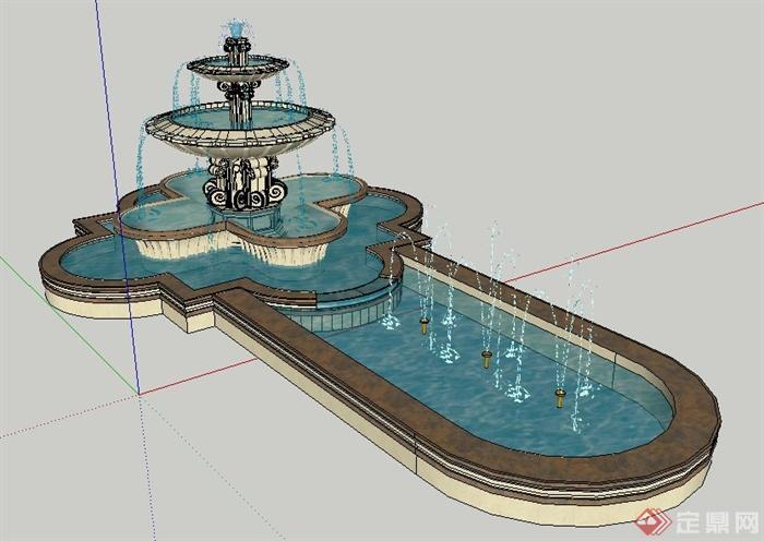 某欧式风格跌水喷泉水景su模型