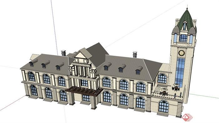 双层欧式会所建筑设计su模型,建筑设计带有塔楼,整体造型独特,模型制