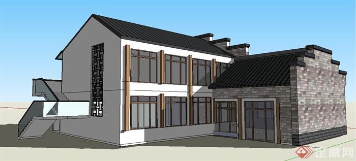 徽派中式风格文化中心建筑设计su模型(3)图片