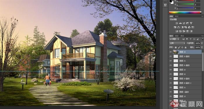 某两层坡屋面别墅建筑设计psd效果图[原创]