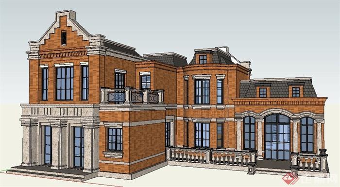 英伦风豪华别墅住宅建筑设计su模型(1)