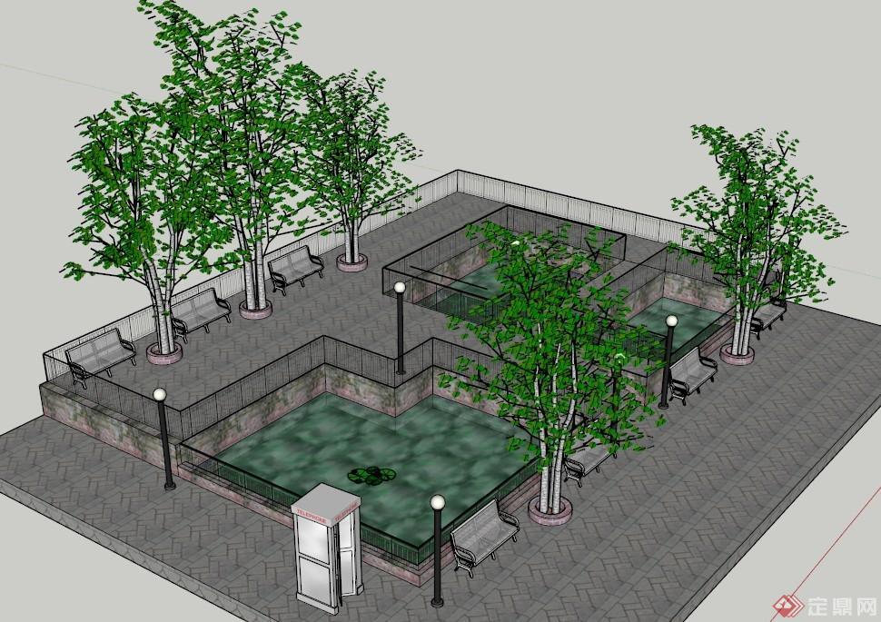 休息广场手绘平面图