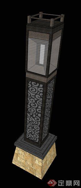 现代中式景观灯柱设计su模型
