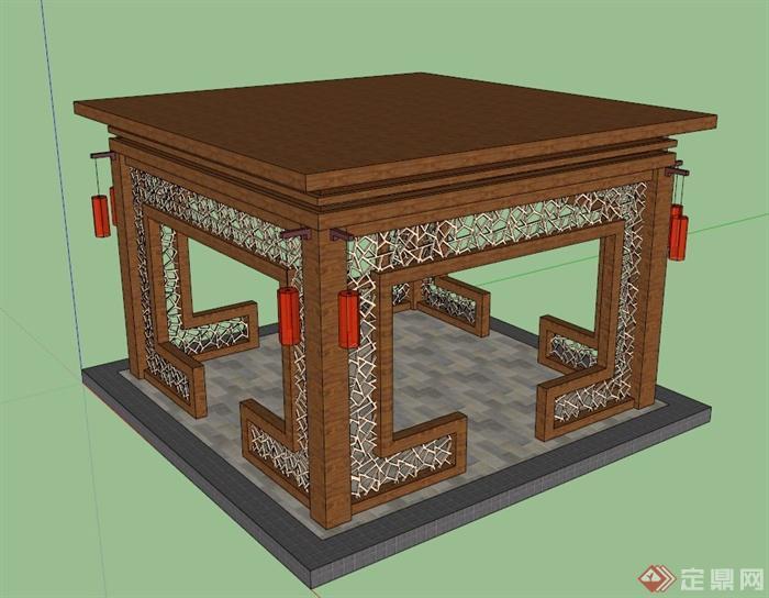 纸盒手工制作凉亭