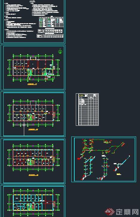 四层办公楼暖通给排水设计CAD施工图