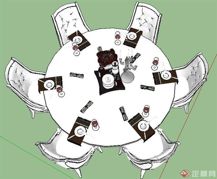 欧式风格六人座圆形餐桌椅su模型