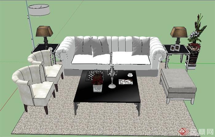 一组欧式风格白色沙发茶几su模型