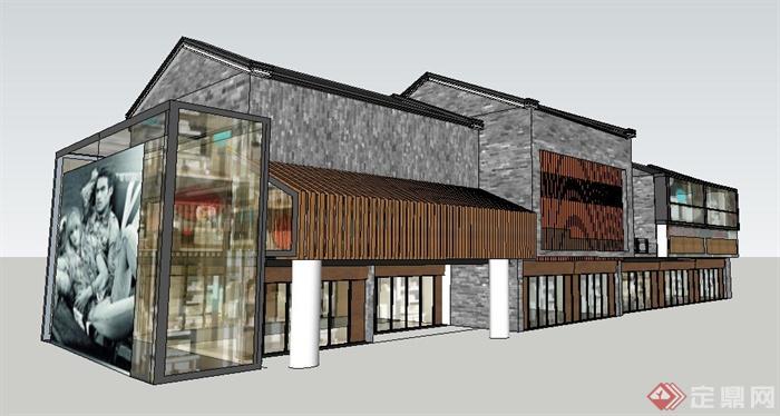 某现代中式风格商业购物中心建筑设计su模型