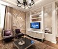客厅,电视,电视柜,沙发,茶几,地毯,背景墙,吊灯,窗帘布艺