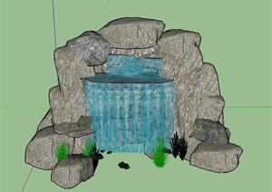 园林景观景石水景设计SU(草图大师)模型