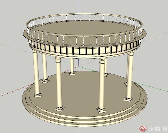 圆形欧式亭设计su模型