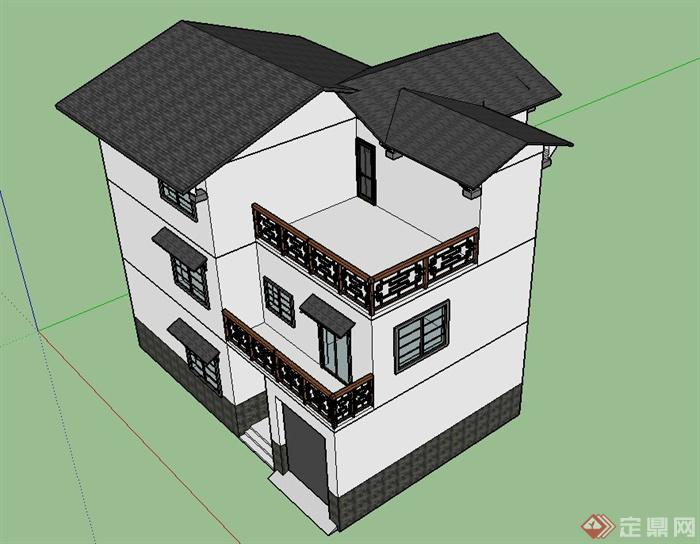 某三层现代中式风格乡村住宅建筑设计SU模型