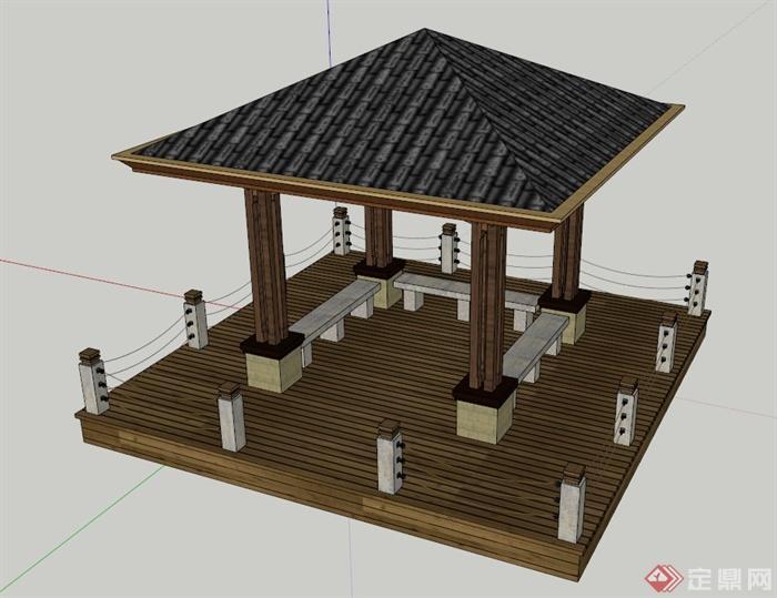 现代中式四角亭子设计su模型图片