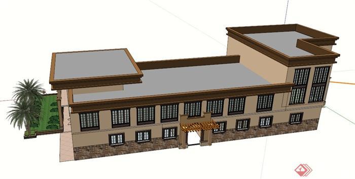 欧式会所建筑设计su模型,带有二层室外走廊的设计,造型独特,模型制作