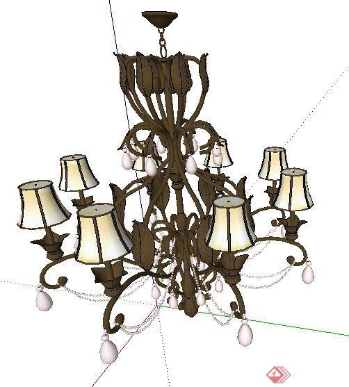 欧式古典吊灯及壁灯su模型