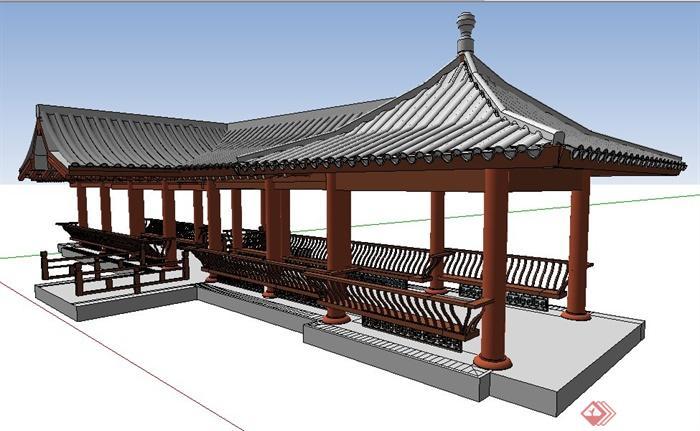 中式风格四角凉亭及景观长廊su模型图片