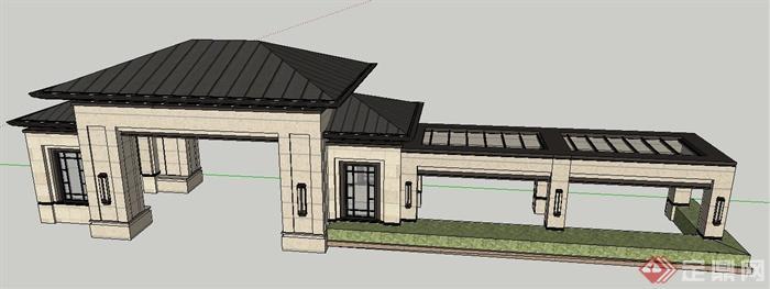 新古典风格大门及长廊设计su模型
