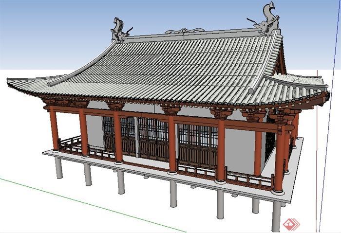 中式风格水中古建筑su模型(2)图片
