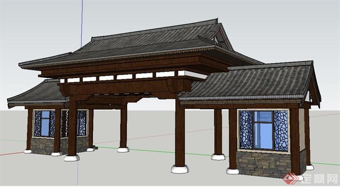 某中式风格景区大门设计su模型(1)