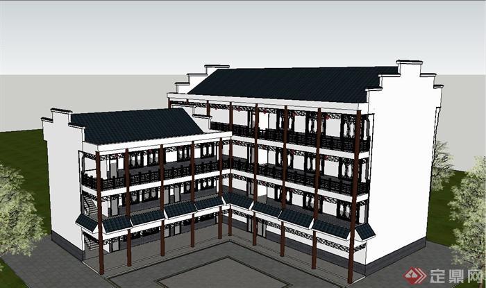 古典中式徽派四层办公楼建筑设计su模型(2)图片