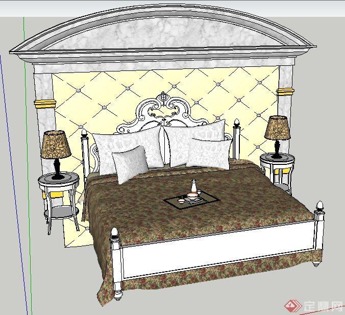 欧式田园床及床头背景su模型