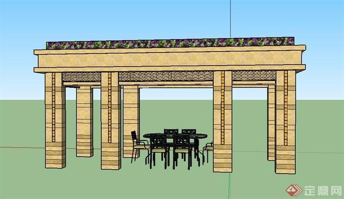 某欧式风格廊架设计su模型