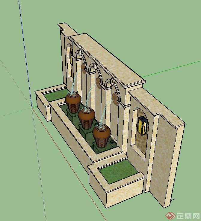 园林景观景墙陶罐水景设计SU模型,模型制作有材质贴图,模型有景墙、花池、水景、陶罐等,具有一定的参考价值。