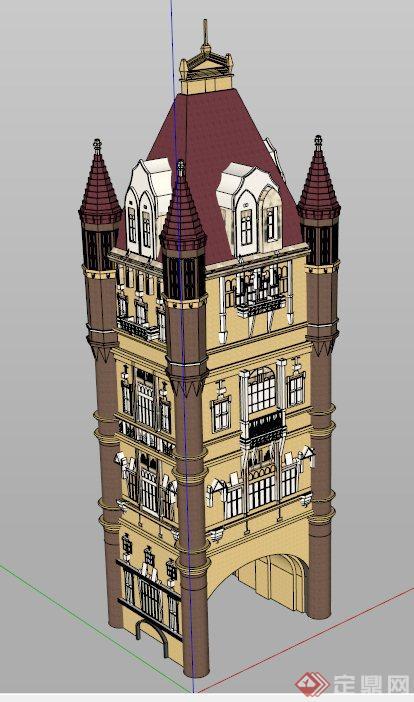 欧式塔楼式建筑设计su模型