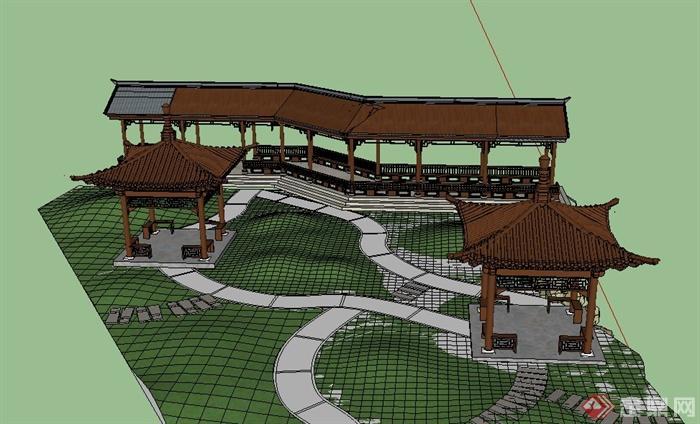 园林景观古典中式亭子与廊架设计su模型(1)
