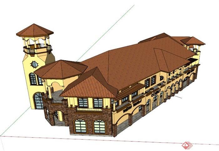 欧式豪华双层商业楼建筑设计su模型,带有塔楼,亭楼的设计,整体造型独