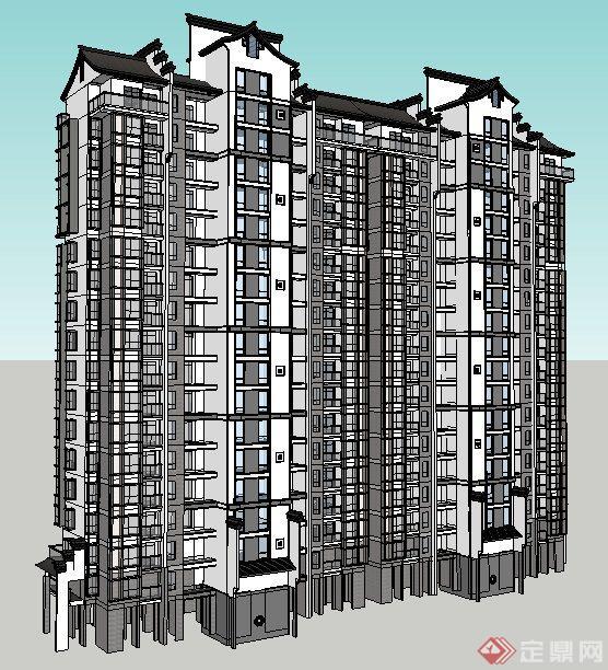 中式风格高层双拼住宅楼建筑设计su模型(2)图片