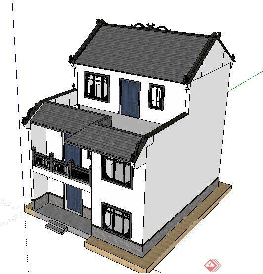中式大门三层小别墅建筑设计su模型[Chinese风格别墅高档钢木图片