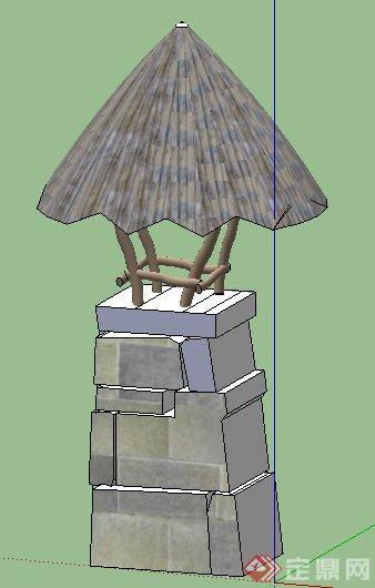 简约泰式庭院灯设计su模型