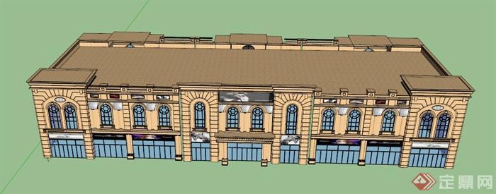 欧式双层商场建筑设计su模型图片