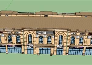 欧式双层商场建筑设计su(草图大师)模型图片