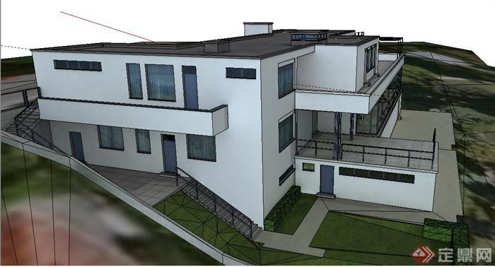 现代风格图特哈特窗户建筑设计su别墅别墅模型装修图片