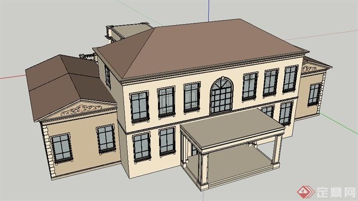 简欧风格别墅会所建筑设计su模型