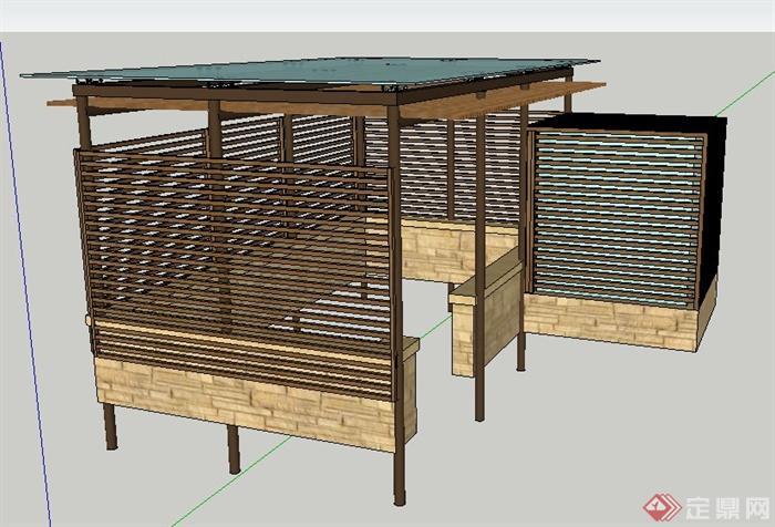 现代风格木制廊架与配电箱su模型