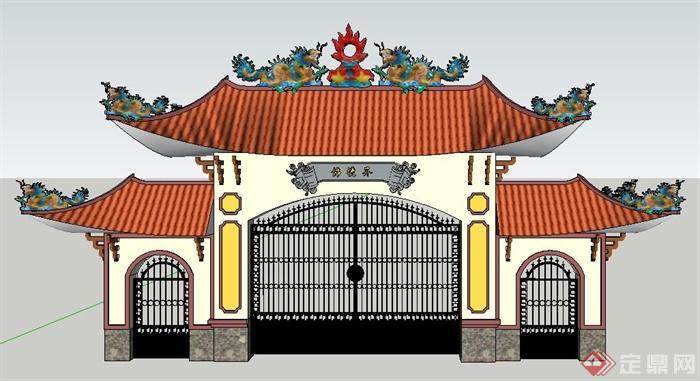 园林景观古典中式风格大门设计su模型