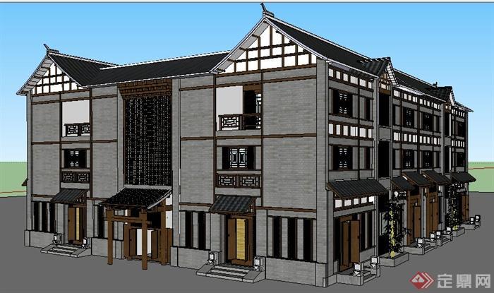 中式风格四合院状三层住宅建筑设计su模型