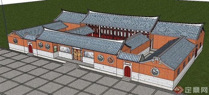 中式風格閩南民居建筑設計su模型(2)