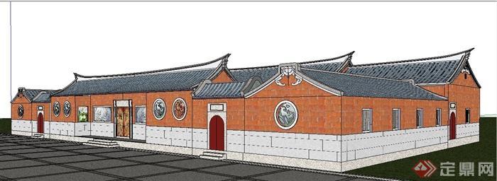 中式風格閩南民居建筑設計su模型(1)