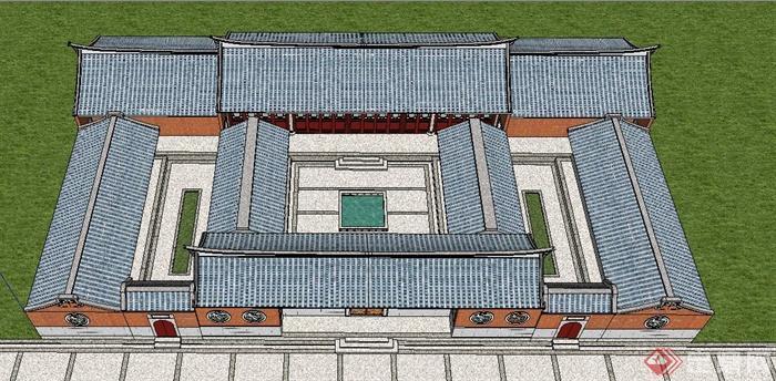 中式風格閩南民居建筑設計su模型(4)