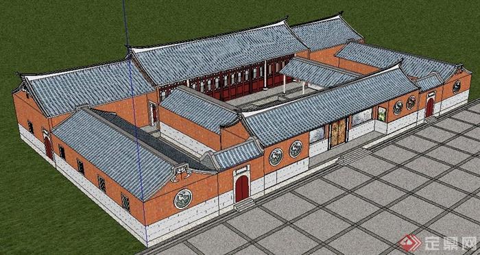 中式風格閩南民居建筑設計su模型(3)