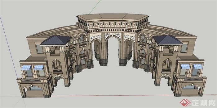 欧式拱门楼设计设计su模型