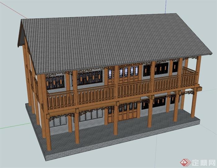 仿古中式双层商业楼建筑设计su模型(1)图片