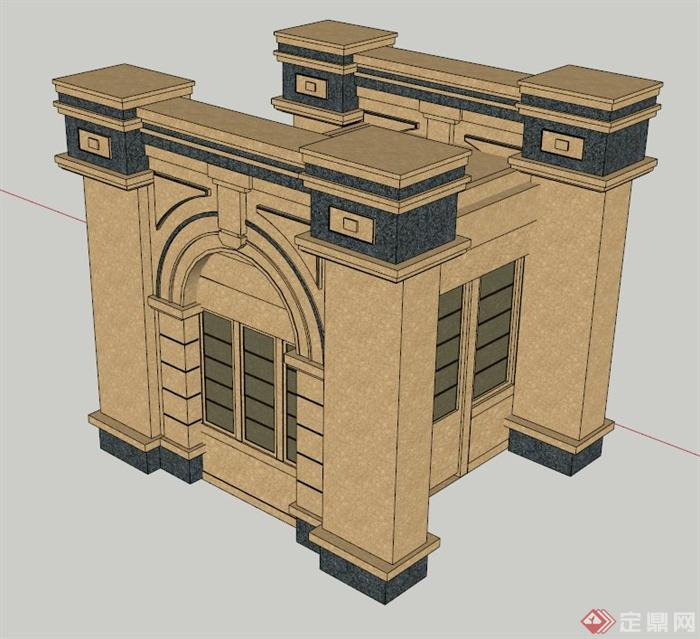 古典欧式岗亭设计su模型