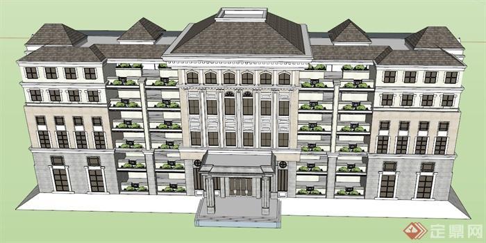 欧式酒店大楼建筑设计su模型