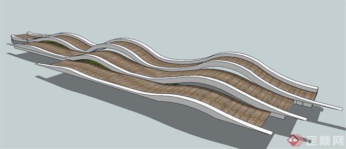 现代风格波浪形园路su模型,整体样式设计简洁美观 ...