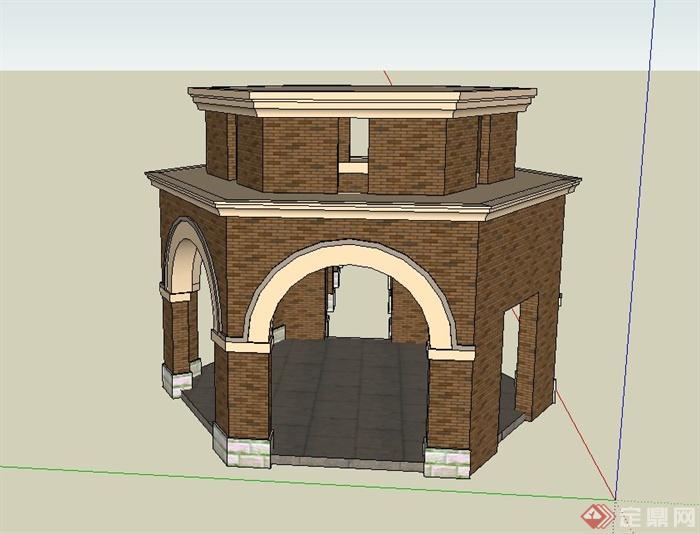 园林景观欧式六角重檐亭与廊架设计su模型